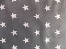 20mm stars 100% cotton poplin fabric craft per metre  grey white star